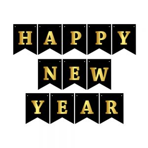 Happy New Year Black & Gold – Pennant Banner