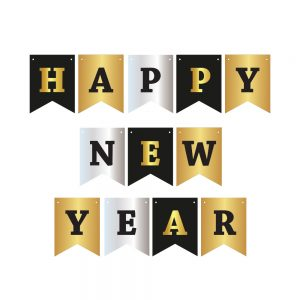 Happy New Year Gold/Silver/Black – Pennant Banner