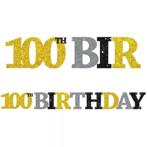 100th Birthday Glitter Banner