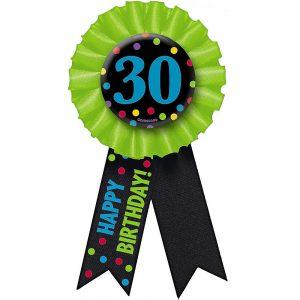 30 años Botón con Listón Colorido