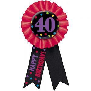 40 años Botón con Listón Colorido