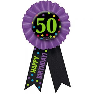 50 Años Botón Con Listón Colorido