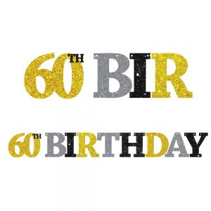 60th Birthday Glitter Banner