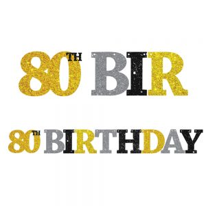 80th Birthday Glitter Banner