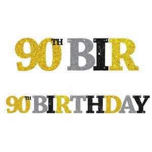 90th Birthday Glitter Banner
