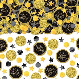 Black Metallic Gold Birthday Confetti