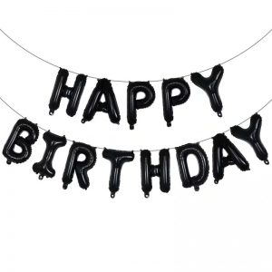 Happy Birthday Letras de Globo Negras