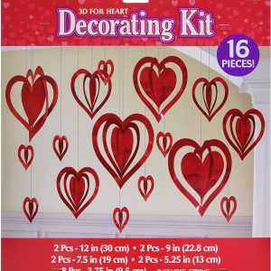 3D Foil Heart Decorations