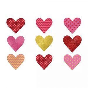 Glitter Dot Chevron Heart Cutouts
