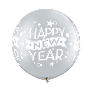 Globo Latex Gigante Happy New Year Plata